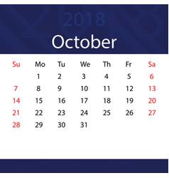 October 2018 calendar popular blue premium for vector