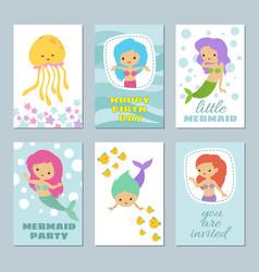 pretty baby mermaids birthday greeting card vector image