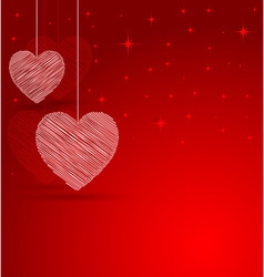 romantic heart with lights effect background vector image