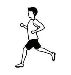 Running man in jersey profile side view vector