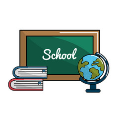 school board with books and earth planet desk icon vector image vector image