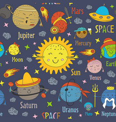 seamless pattern with cartoon funny solar system vector image
