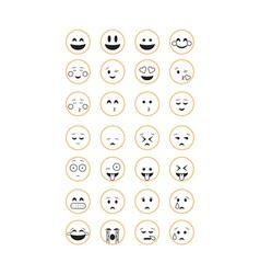 Set of outline emoticon vector image vector image