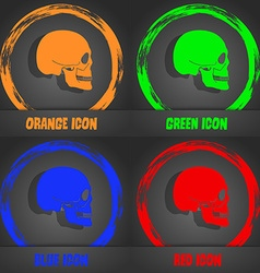 Skull icon fashionable modern style in the orange vector
