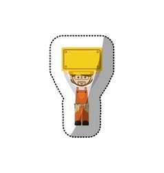 sticker avatar worker with toolkit and plaque up vector image