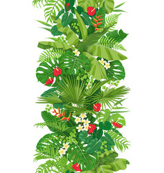 tropical plants seamless vertical border vector image
