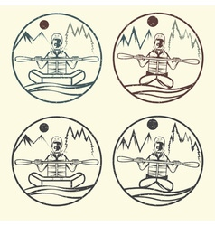 Vintage grunge labels of rafting and kayaking vector