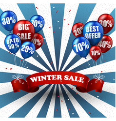 Winter sale balloons and discounts background vector