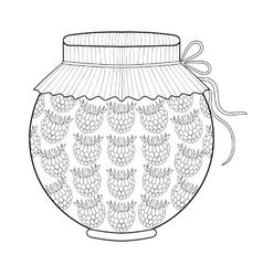 Zentangle stylized jar with ruspberry jam vector image vector image