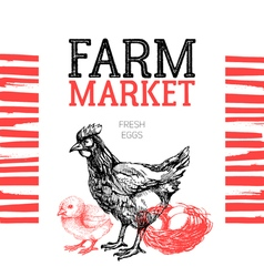 Farm market poster design template hand drawn vector