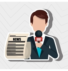 Reporter avatar with newspaper isolated icon vector