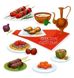 Turkish cuisine meat and vegetable dishes icon vector