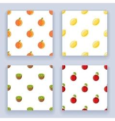 Fruit seamless pattern set icons flat design line vector image
