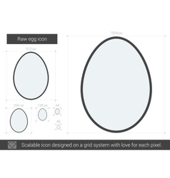 Raw egg line icon vector