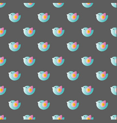 Pattern with cartoon cute toy baby bird vector