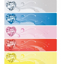 Diamond heart banners vector