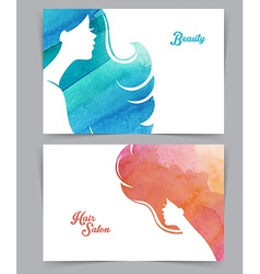 Woman with watercolor hair vector image