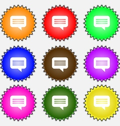 Speech bubble chat think icon sign a set of nine vector