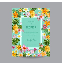 Tropical floral frame - for invitation wedding vector