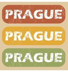 Vintage prague stamp set vector