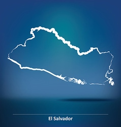 Doodle map of el salvador vector