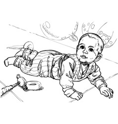Baby crawls vector