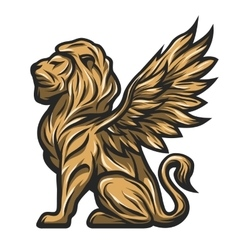 Golden statue of a lion with wings vector