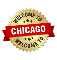Chicago 3d gold badge with red ribbon vector