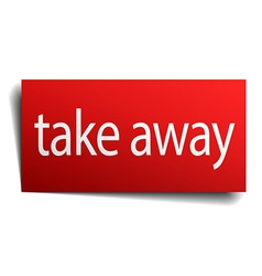 Take away red paper sign on white background vector