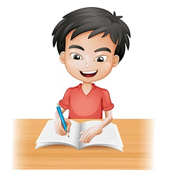 A smiling boy writing vector image vector image