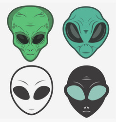 alien face icon set humanoid head vector image