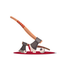 Bloody executioner ax isolated cartoon icon vector