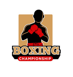 boxing championship icon template of boxer vector image vector image
