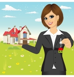 businesswoman holding a model house vector image vector image