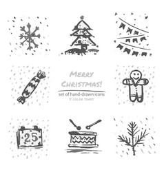 Christmas hand drawn sketch icons on white vector