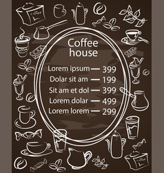Coffee house chalkboard menu with a central oval vector