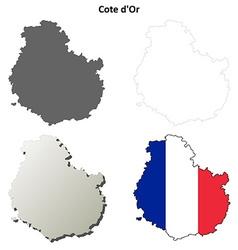 Cote dor burgundy outline map set vector