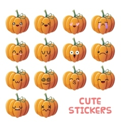 Cute pumpkin icons set vector