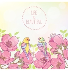 flowers and cute parrots vector image vector image