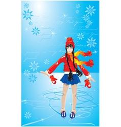 Girl on skating rink vector