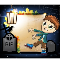 Halloween zombie with crow and gravestones vector