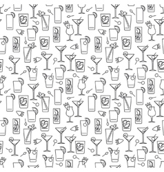 Line cocktails seamless pattern vector