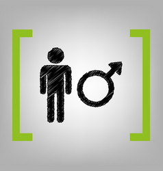 male sign black scribble vector image vector image
