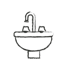 Monochrome blurred silhouette with washbasin icon vector