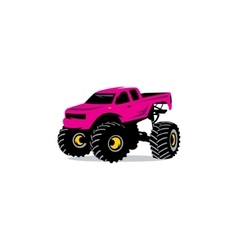 Monster truck sign the car on big wheels and high vector
