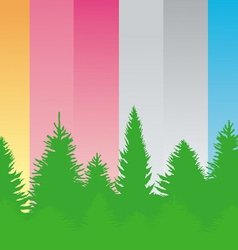 ontour of green trees on various backgrounds vector image vector image