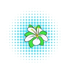 Orange flower icon comics style vector