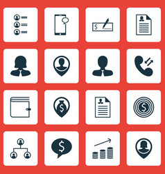 set of 16 management icons includes employee vector image