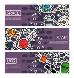 Set of horizontal banners about space vector