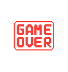 simple game over pixel badge on white background vector image